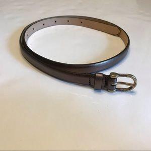 J. Crew   Leather Skinny Belt Brown Metallic S